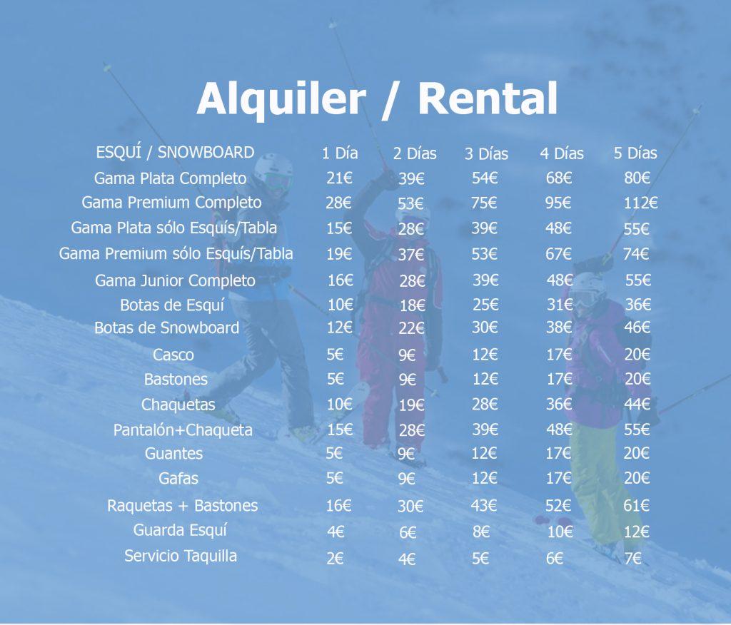 ALQUILER DE ESQUI SIERRA NEVADA