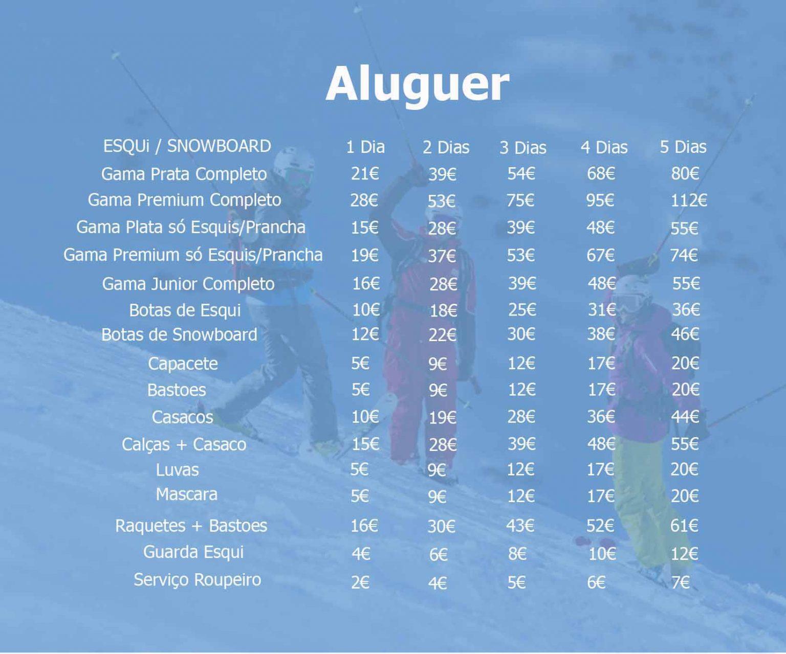 aluguer de ski Serra Nevada